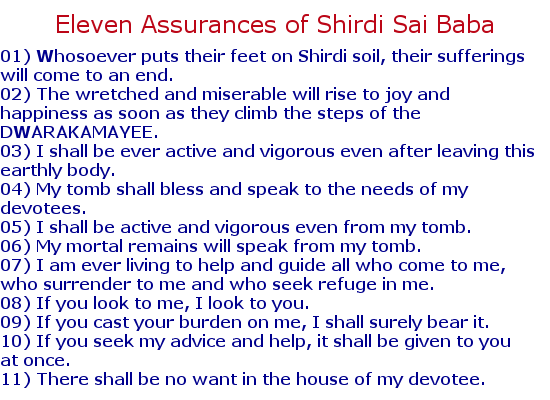 Eleven assurances of Shirdi Sai Baba